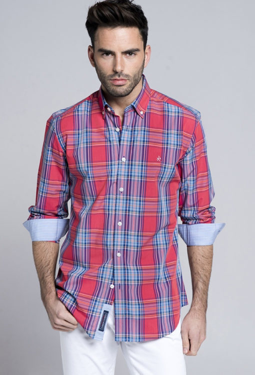 Camisa-Valecuatro-tartán-coral1